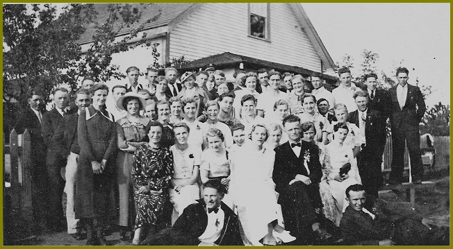 1938 Wedding of Anna (Nickel) & John Dyck with their friends at Yarrow BC