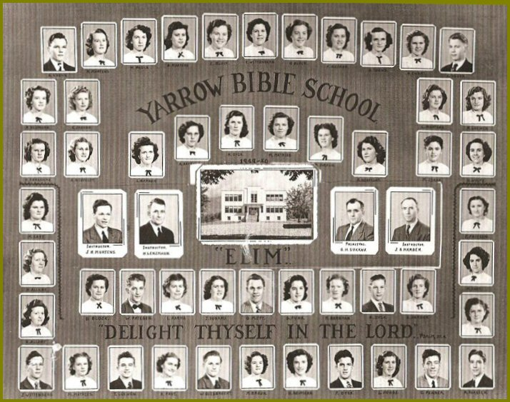 Yarrow Elim Bible School 1949-50