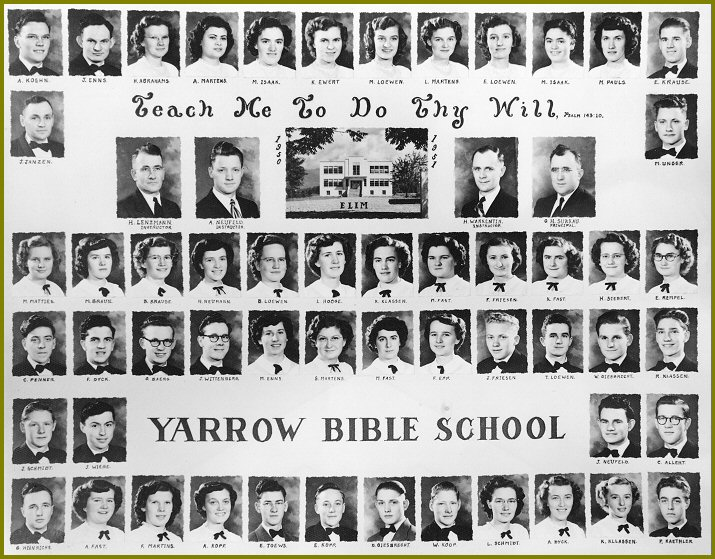 Elim Bible School 1950-51