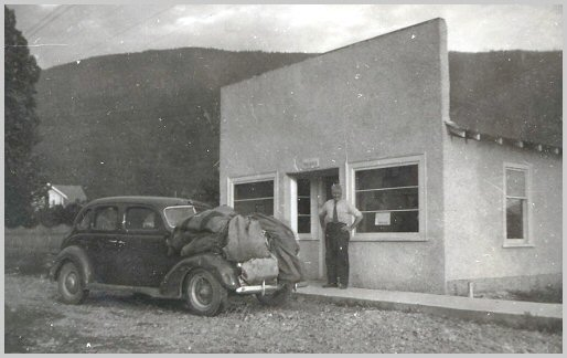 Bill Siddall at the new Yarrow Post Office - 1948