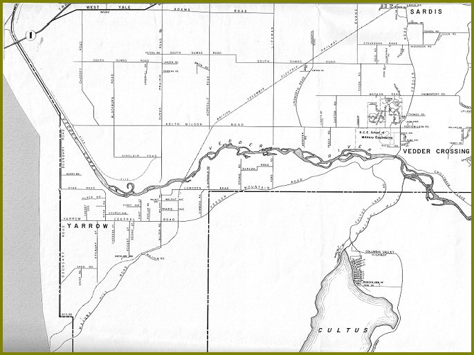 Yarrow from 1963 Map of Chilliwack / Chilliwhack Municipality